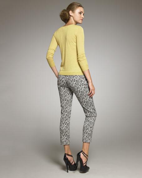Static-Print Cotton Pants