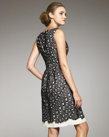 Lace Overlay Linen Dress
