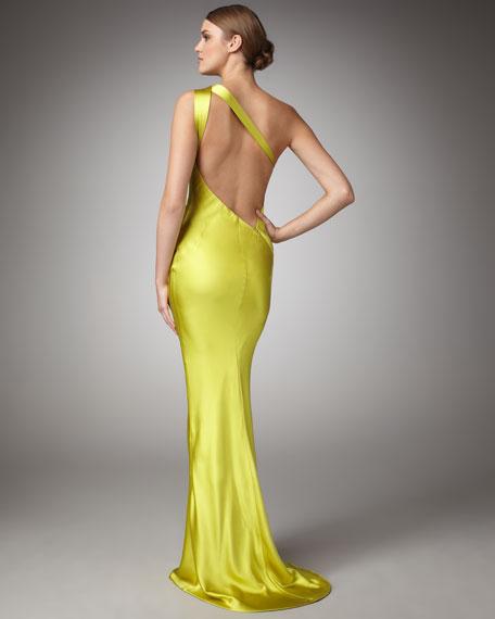 One-Shoulder Satin Dress