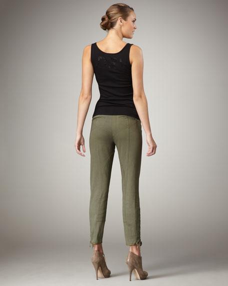 Twill Lace-Up Leg Pants, Green