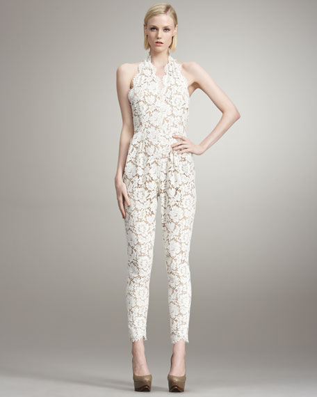 Lace Jumpsuit with Removable Jacquard Skirt