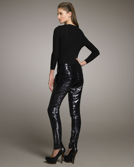Sequined Sheeting Pants