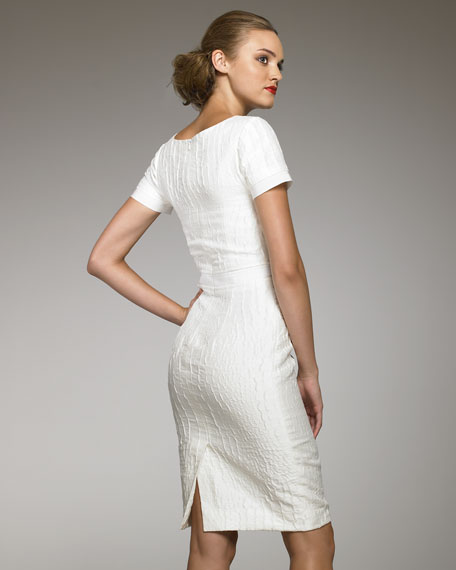 Croc-Textured Sheath Dress