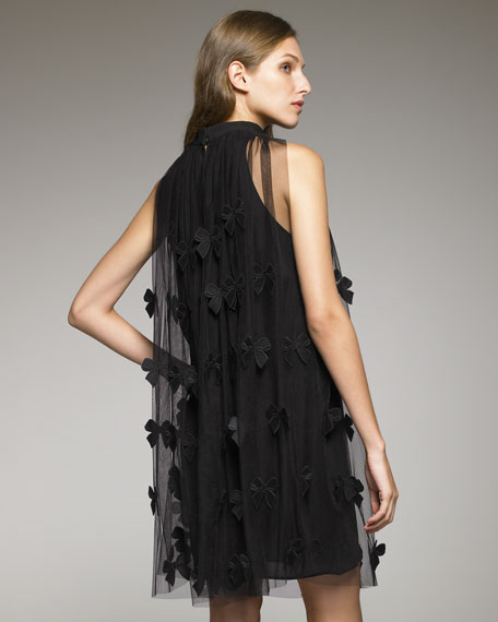 Bow-Detailed Tulle Trapeze Dress