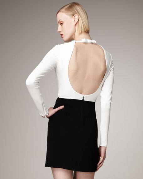 Long-Sleeve Open-Back Dress