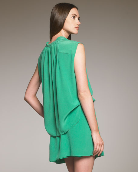 Crepe-de-Chine Blouson Dress