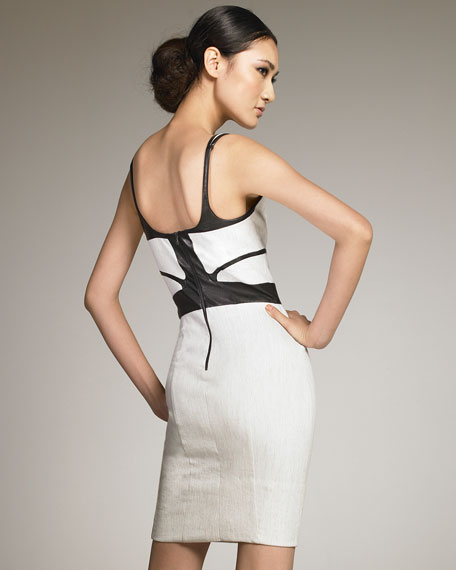 Leather-Detail Sheath Dress