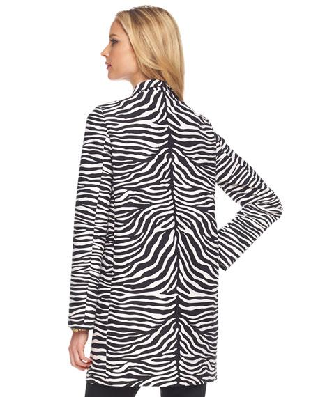 Zebra-Print Balmacaan Coat