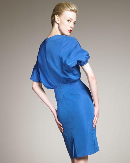 Kimono-Sleeve Taffeta Dress