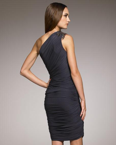 Shoulder-Detail Jersey Dress