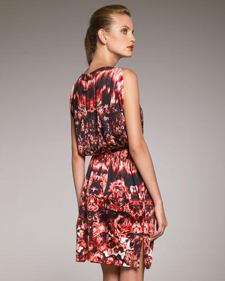 Cold-Shoulder Print Dress