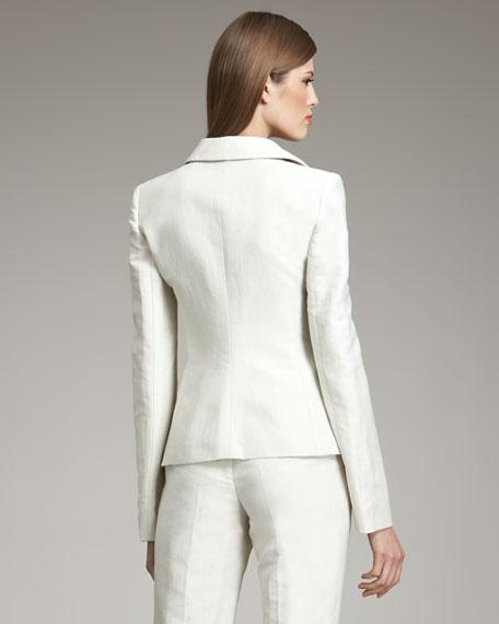 One-Button Linen-Blend Jacket