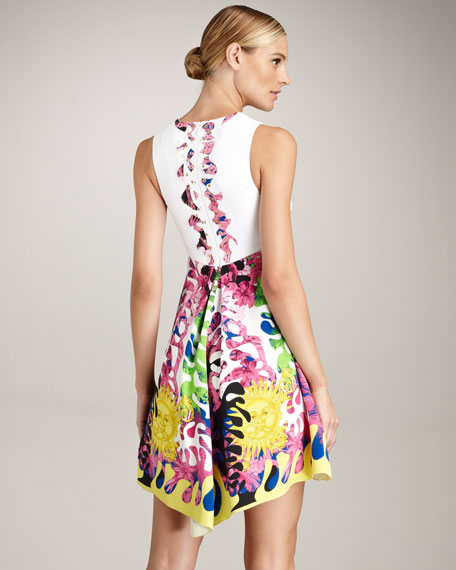 Tropical-Print Forging-Fit Dress