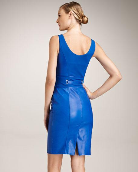 Tie-Waist Leather Dress