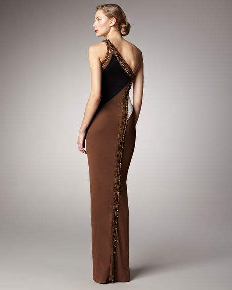 Embellished Colorblock Gown