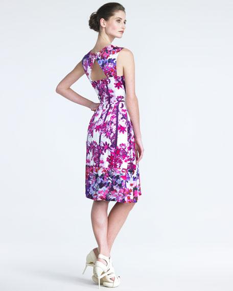 Lilac-Print Silk Dress