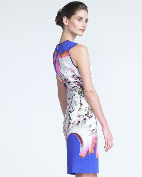 Abstract-Print Sheath Dress