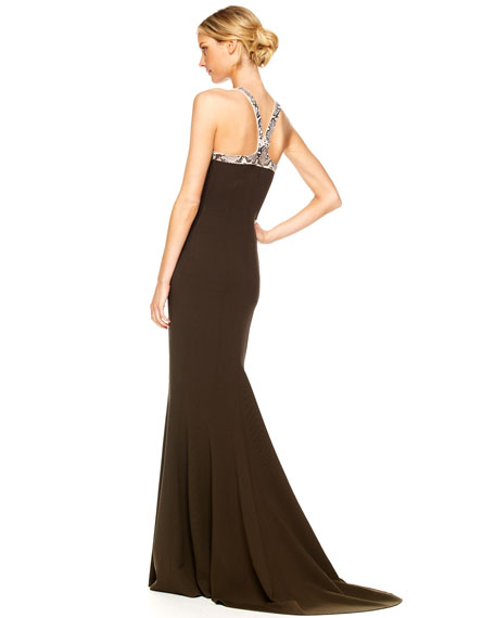 Faux-Python Halter Gown