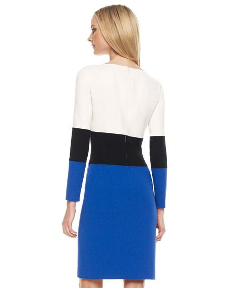 Crepe Colorblock Shift Dress