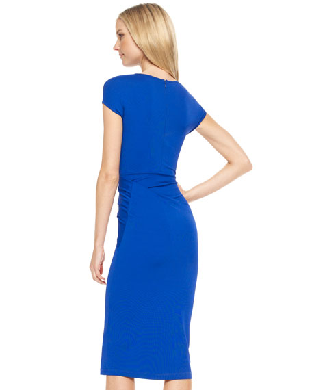 Wrap-Detail Jersey Dress, Cobalt