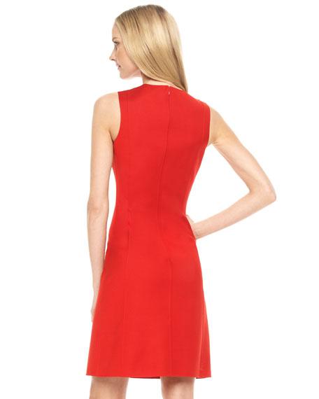 Sateen Zip-Placket Shift Dress