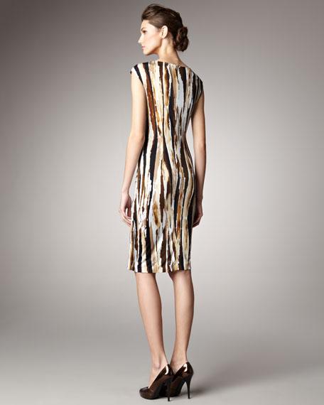 Abstract Bamboo-Print Dress
