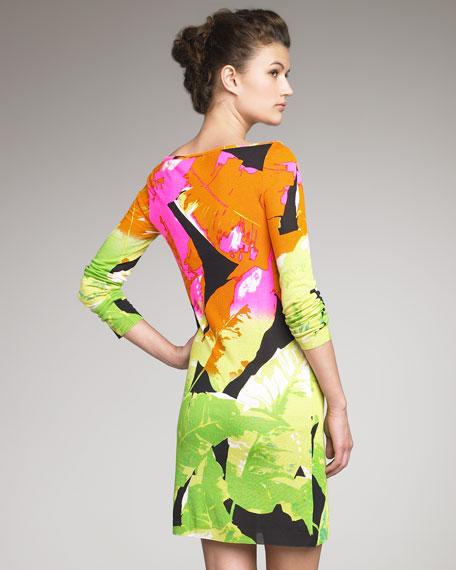 Leaf-Print Tunic Dress