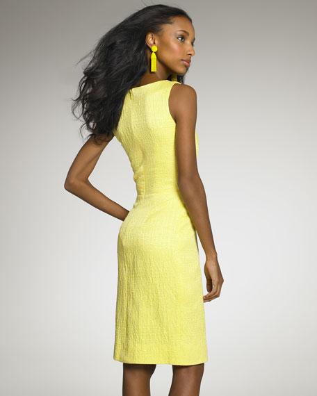 Textured Pleated Sheath Dress