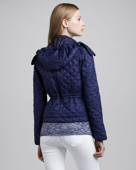 Quilted Nylon Jacket, Sapphire Blue