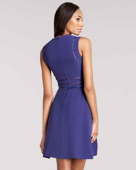 Lace-Inset Crepe Dress