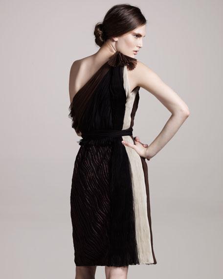 Streaked-Jacquard One-Shoulder Dress