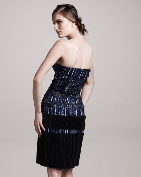 Plisse-Skirt Bustier Dress