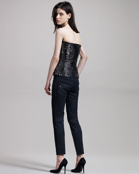 Coated Zip-Detail Jeans