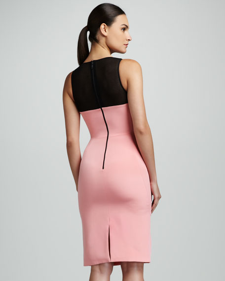 Mesh-Yoke Sheath Dress