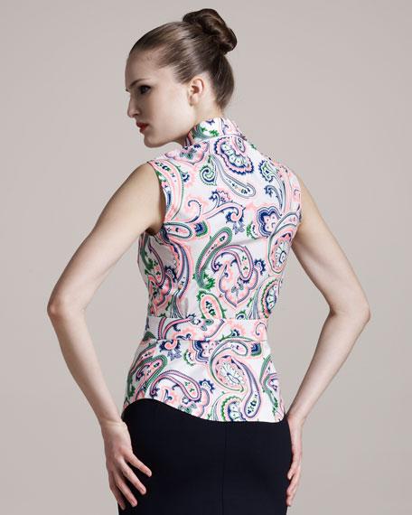 Sleeveless Paisley-Print Blouse