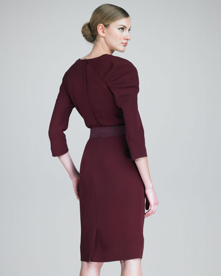 Cowl-Neck Three-Quarter-Sleeve Dress