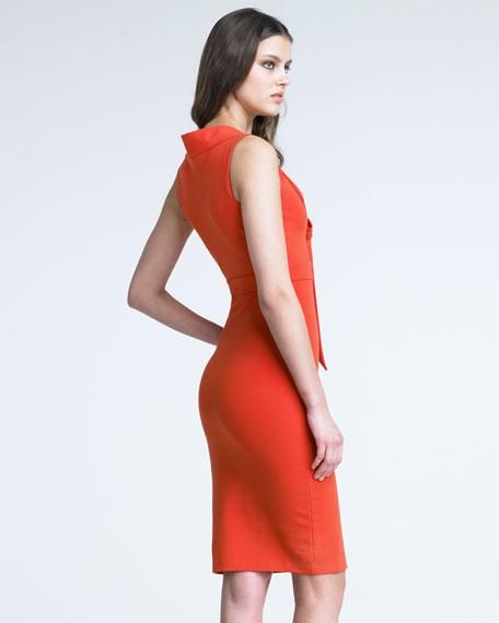 Tie-Neck Jersey Dress