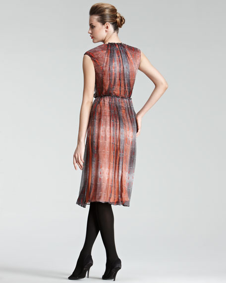 Pleated Double-Layer Dress