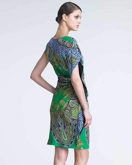Asymmetric Paisley Dress