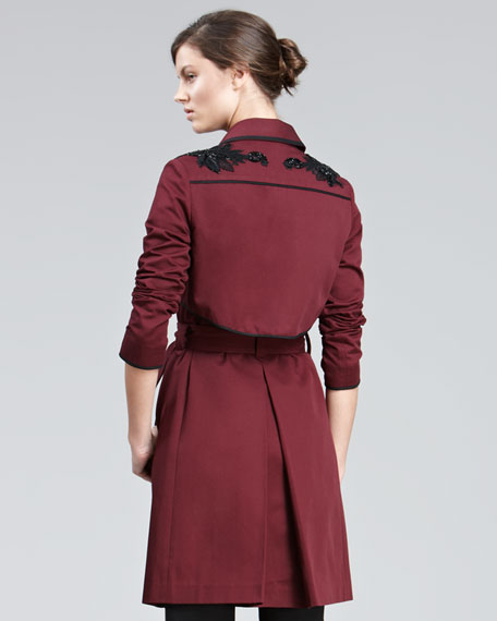 Embroidered Twill Trenchcoat