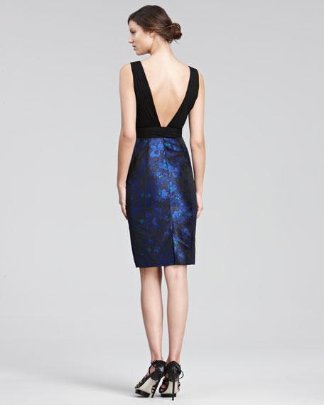 Jacquard-Skirt Cocktail Dress
