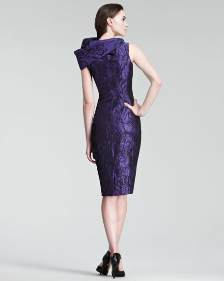 Exaggerated Cowl-Neck Sheath Dress