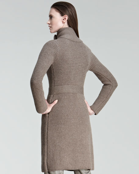 Double-Breasted Sweater Coat