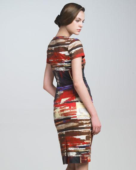 Brushstroke-Print Twill Dress