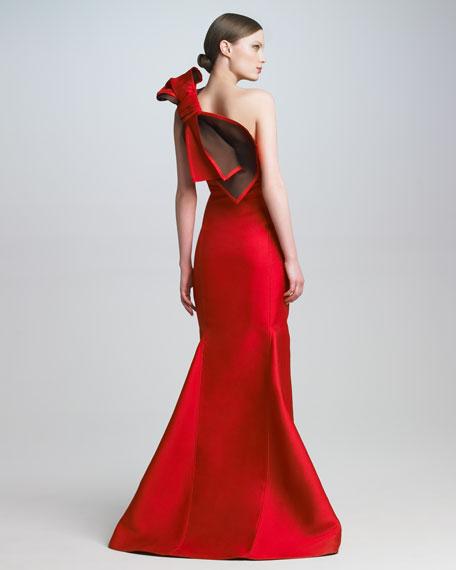 Bow-Shoulder Satin Gown