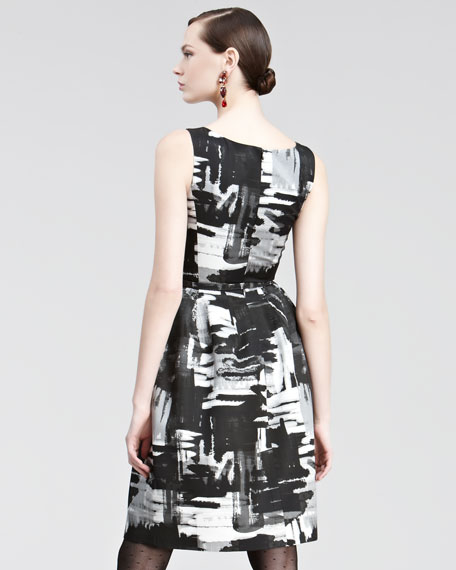 Brushstroke-Print Belted Dress