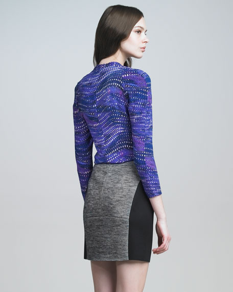Front-Zip Two-Tone Skirt
