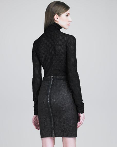 Basket Knit-Paneled Leather Skirt