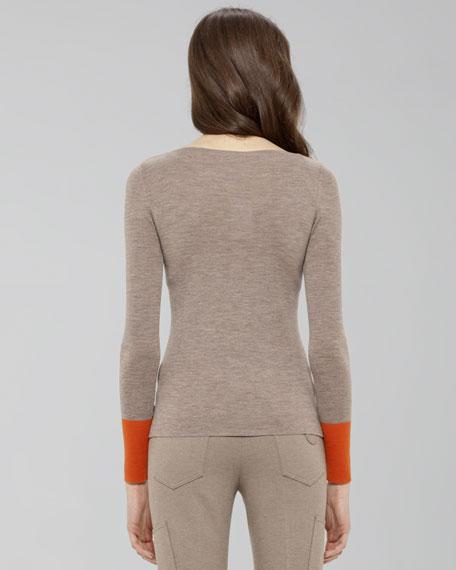 Contrast-Cuff Knit Top