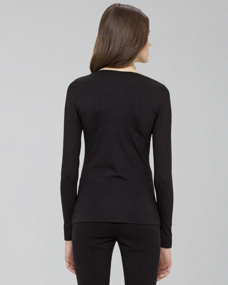 Leather-Trim Long-Sleeve Tee